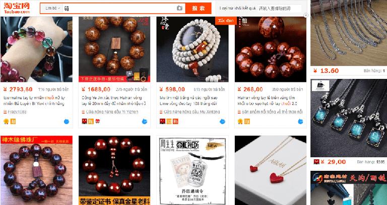 Nhập hàng trang sức qua các website Trung Quốc