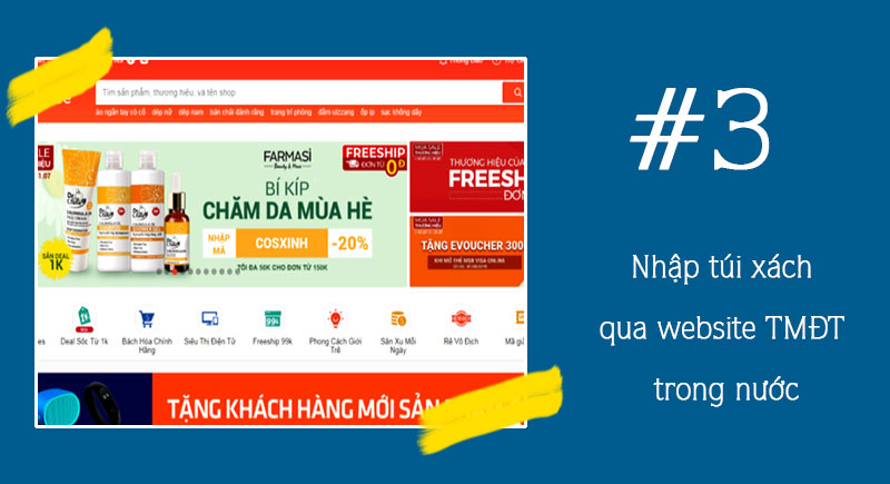 Nhập hàng tại các website trong nước từ các nhà cung cấp sỉ