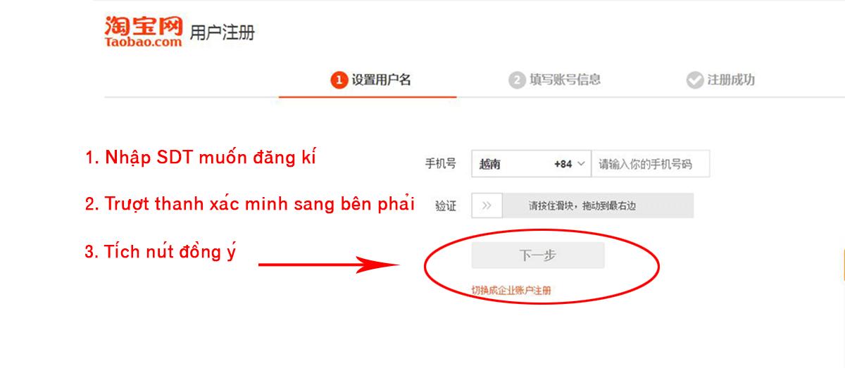 Đăng kí tài khoản order Taobao bằng SĐT
