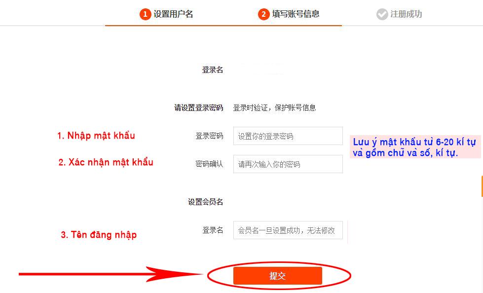 Nhập mật khẩu và tên đăng nhập Taobao