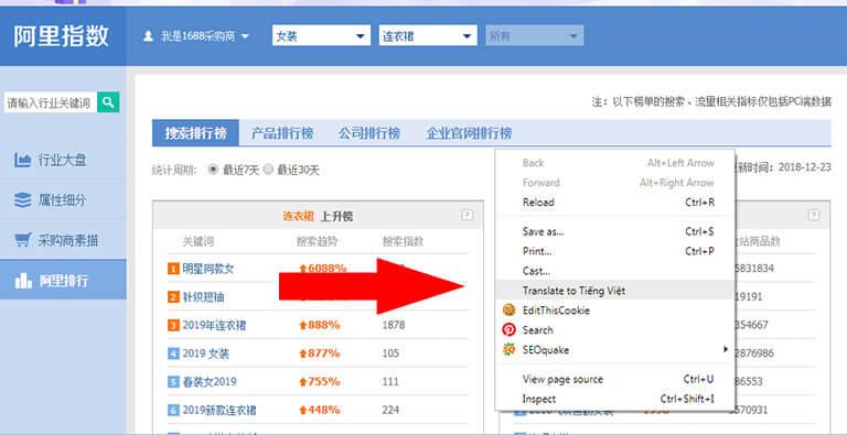 Sử dụng công cụ dịch trang web