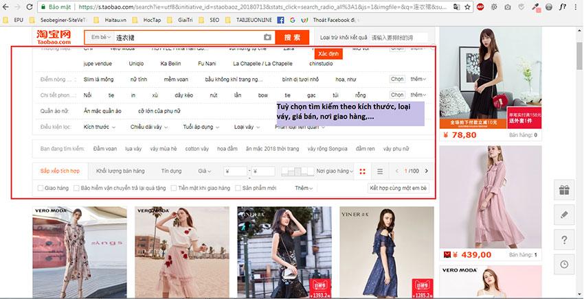Tùy chọn tìm kiếm nâng cao sản phẩm Taobao