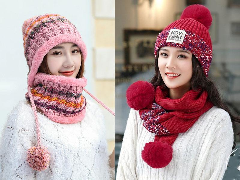 Mẫu khăn len kèm mũ