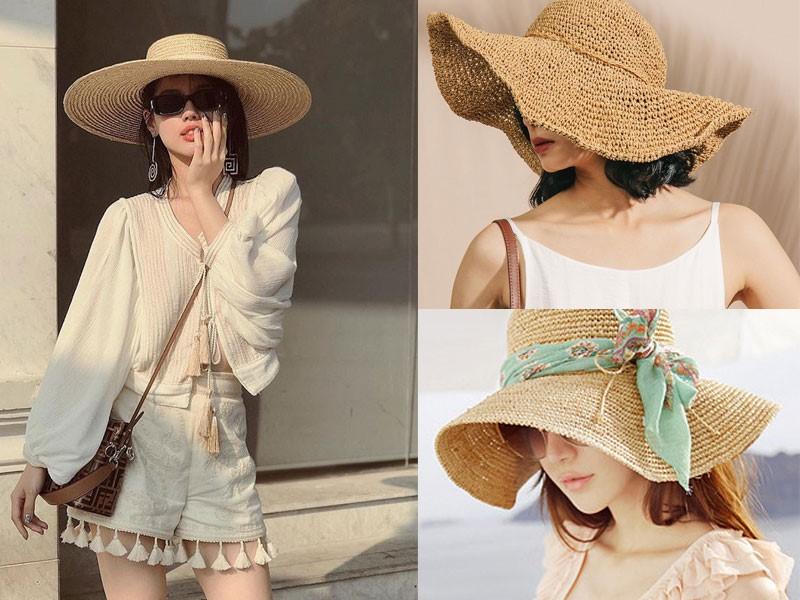 Mũ cói vành rộng hợp thời trang