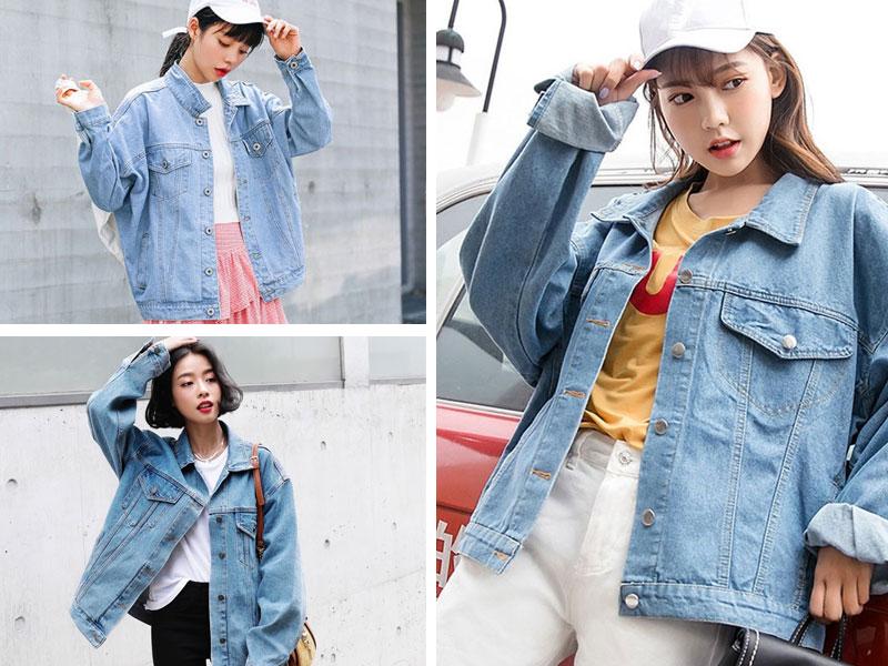 Áo khoác jean nữ dáng rộng