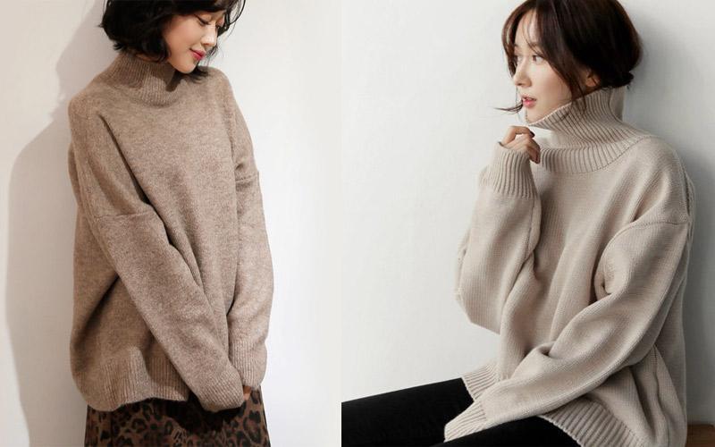 Những chiếc áo len cổ lọ nữ đa dạng kiểu dáng, màu sắc