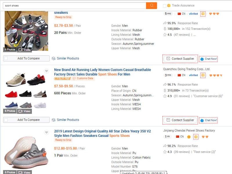 Tìm kiếm sản phẩm khi đặt mua hàng trên Alibaba