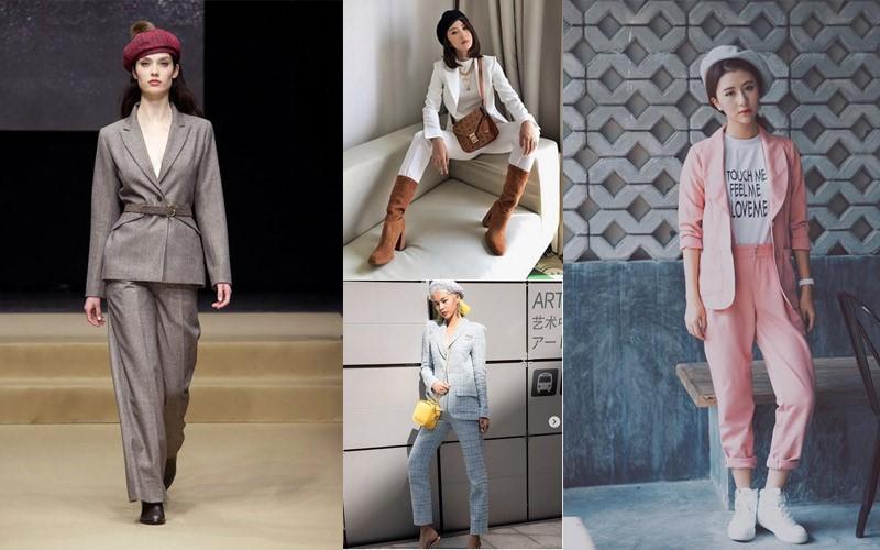 Mũ beret + Bộ suit hiện đại