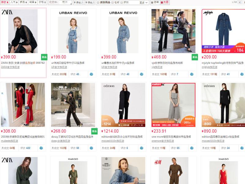 Đặt mua đồ jumpsuit qua các sàn thương mại điện tử