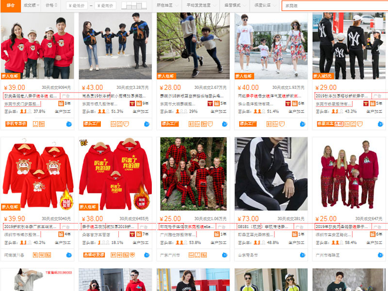 Mua quần áo gia đình giá rẻ trên website TMĐT Trung Quốc