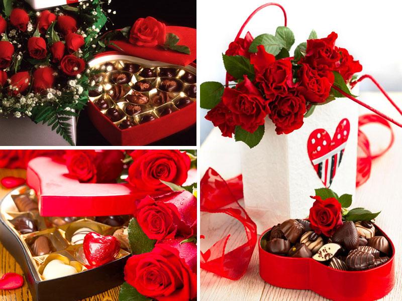 Quà tặng valentine Hoa hồng và socola