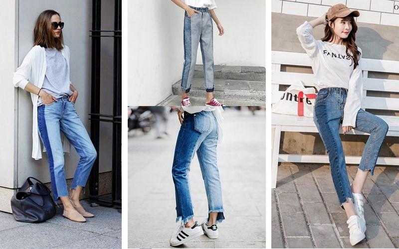 Mẫu quần jeans phối màu