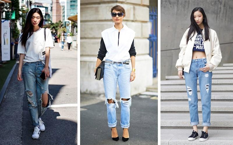 Mẫu quần jeans rách nữ cá tính rất được các Fashionista nổi tiếng ưa chuộng