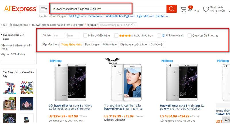 Tìm kiếm sản phẩm trên Aliexpress Việt Nam