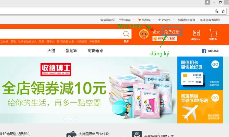 Tạo tài khoản mua hàng Taobao Việt Nam