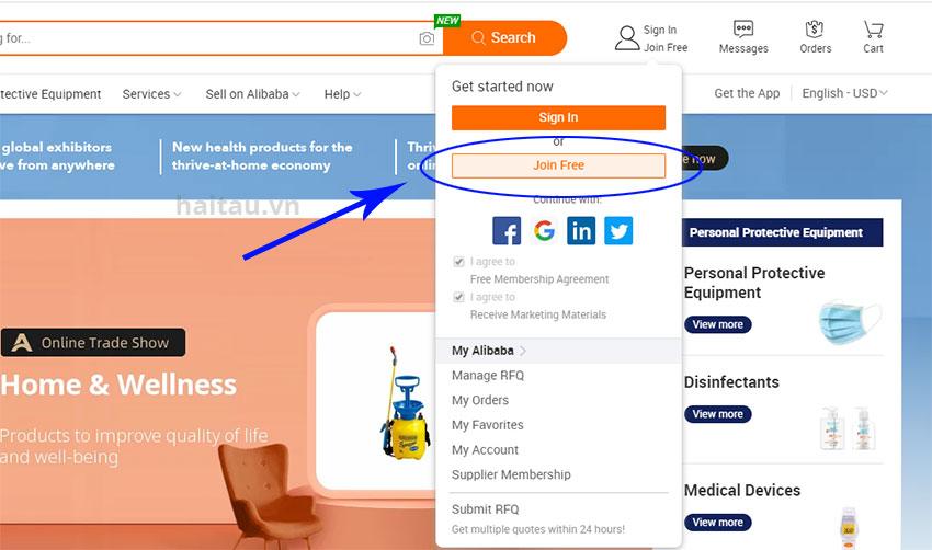 Hình 1. Lựa chọn đăng kí tài khoản Alibaba