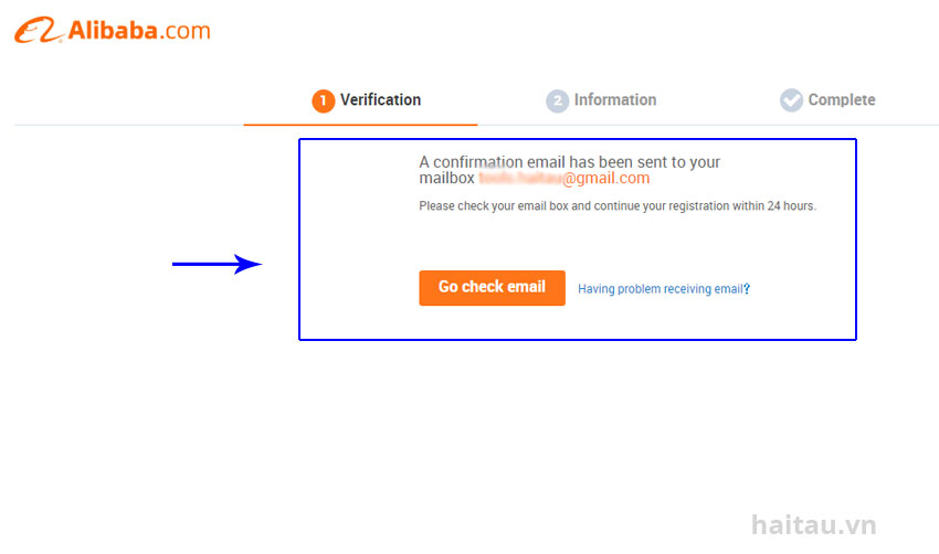 Hình 3. Xác nhận đăng ký qua mail